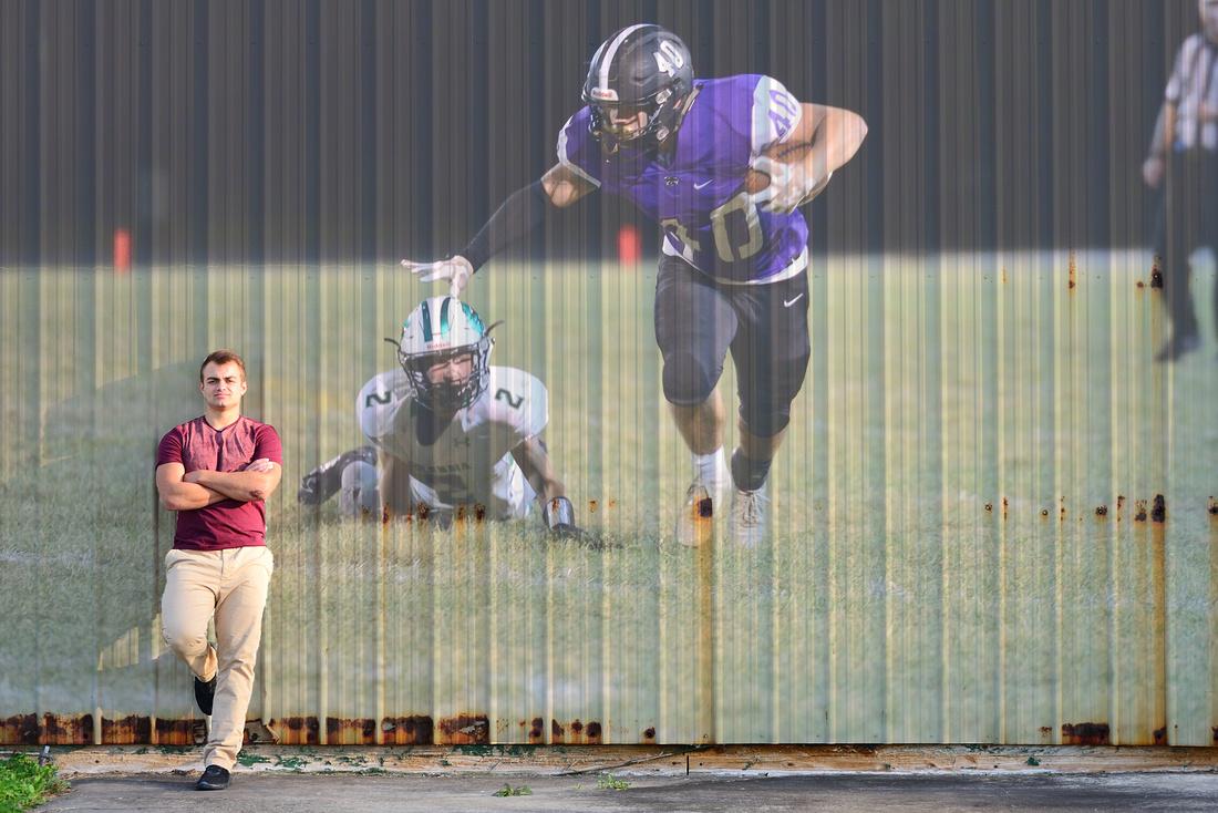 Superimposed photo on photo of senior football player.